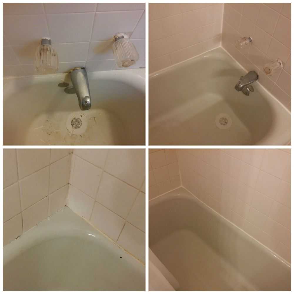 Before and after - we cleaned up a lot of the surrounding grout (and the tub itself) when we did this project. Next up: new fixtures. :)