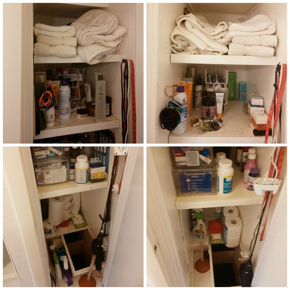 Closet: before and after, top and bottom