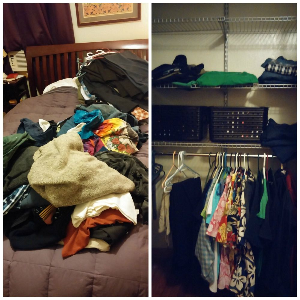 "All his clothes on the bed on the left and, on the right, what went back in the closet (top shelf). He took his ""around the house"" and workout clothes to the chest-of-drawers."