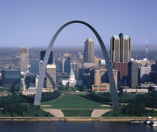 Photo of the old arch grounds, as seen from Illinois, looking west.