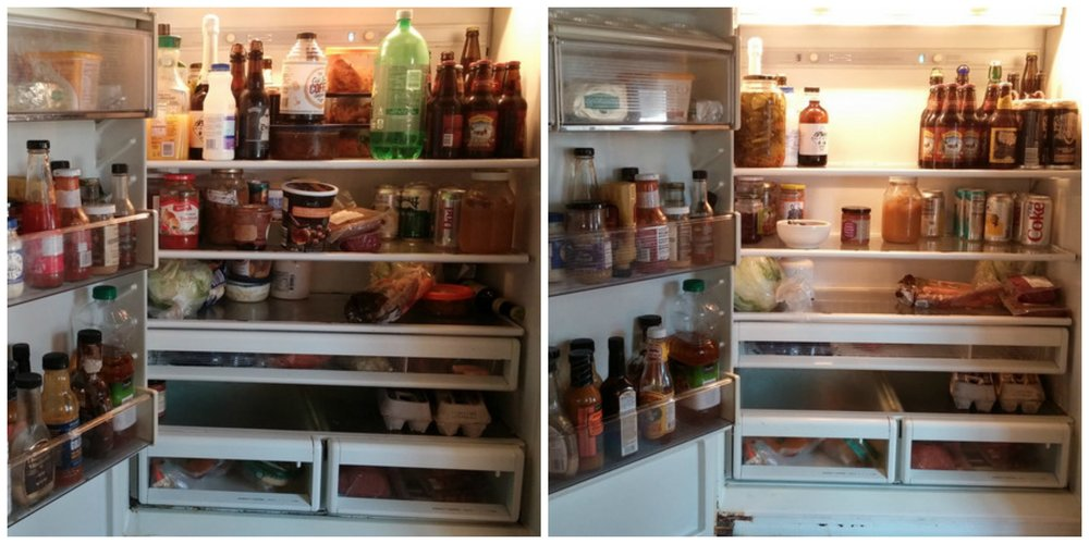 And for reference, the old fridge before and after. The door stayed open on this one, sometimes for a long, long time. It's worth noting the eggs didn't move during this cleaning, either. :)