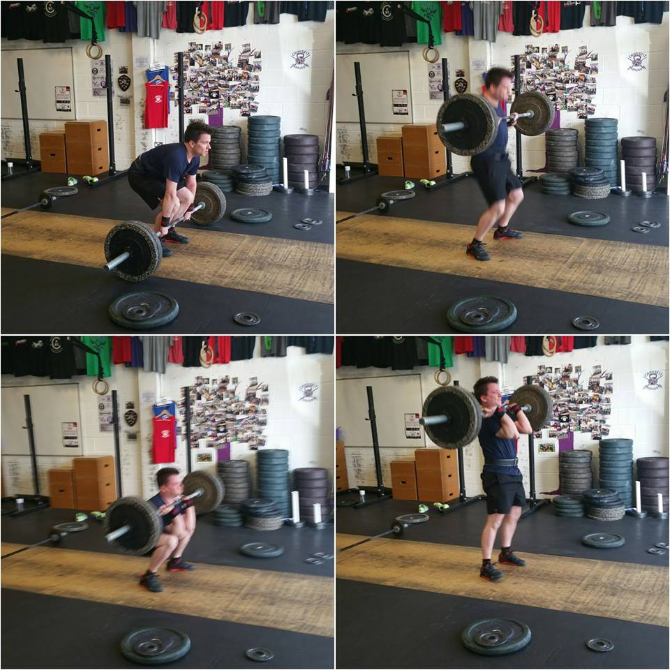 Dan pushing his Hang Squat Clean PB from 52.5 to 67.5 9n one weekend