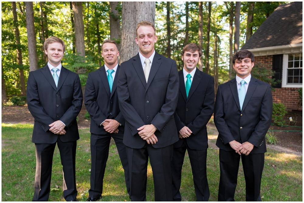 Groomsmen different colored ties, Richmond VA Wedding Photographer