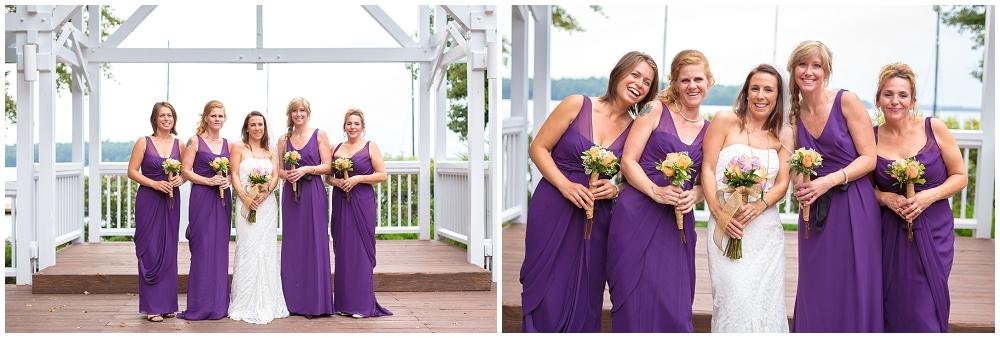 Bridesmaids in long purple dresses