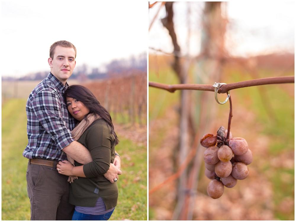 Mountain Vineyard Engagement Session ring