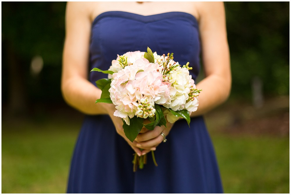 blue and pink bridesmaid bouquet