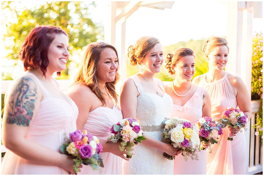 pink bridesmaid dresses sunset