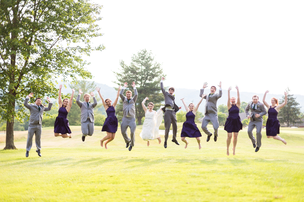 bridal party jumping shot in blacksburg, va