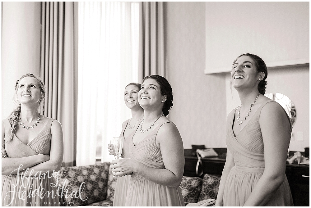 I love this shot of the bridesmaids seeing Alaina in her dress for the first time!