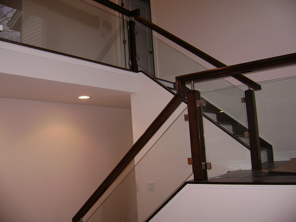 Railings mirrors and more solon glass for Indoor glass railing