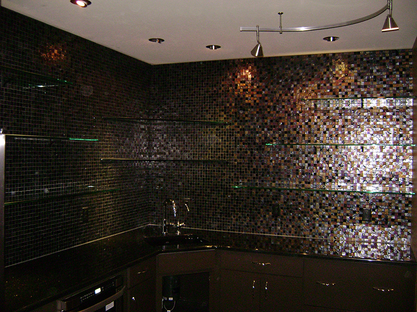 Heavy Glass Shelves set-in Glass Tile