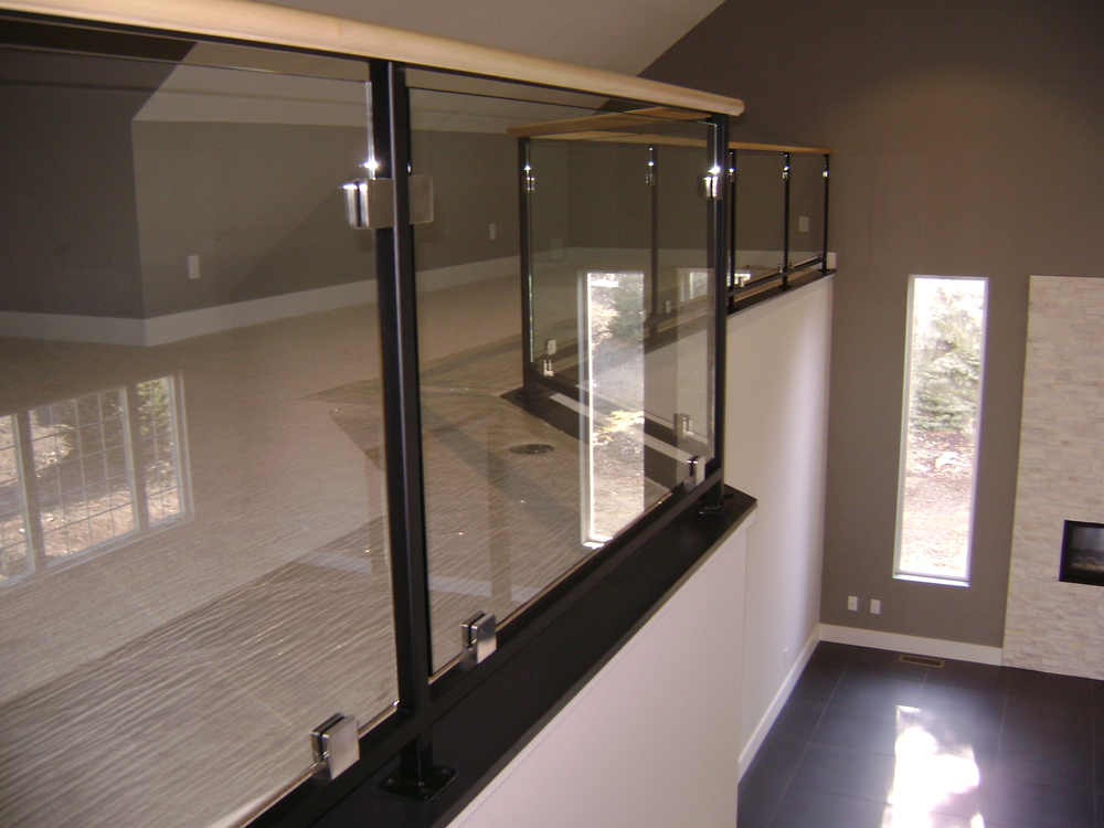 Glass Handrail in Metal Frame