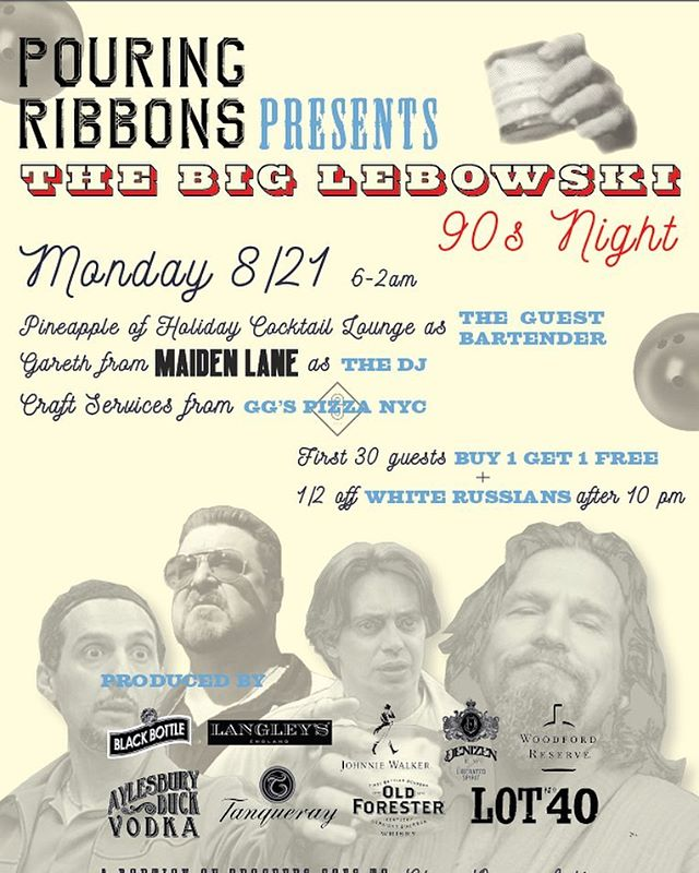 Come by @pouring_ribbons for some 90's food from yours truly tomorrow night! We'll be serving up some pepperoni pizza hot pockets🍕 music from Maiden Lane🎧 and drinks from from Pineapple from @holidaycocktaillounge as The Guest Bartender🍸 #TheDudeAbides #TheBigLebowski #GGsNYC