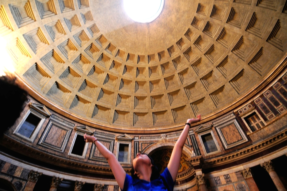 The Pantheon with a happy tourist