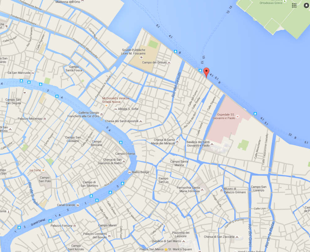 Click on the marker to an interactive google map of the meeting point