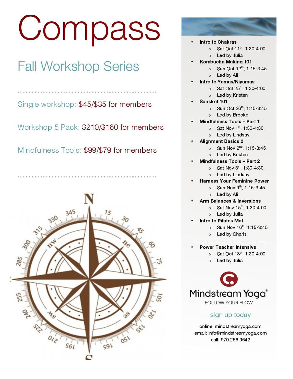 compass workshop schedule overview
