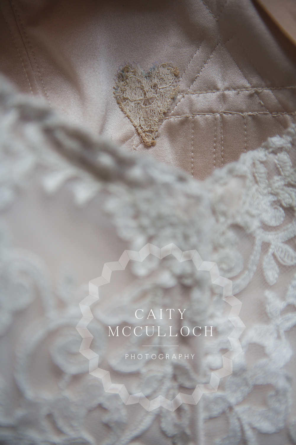 This amazing detail. Something old, a piece of Alannah's Grandmother's wedding gown, a special surprise for her on the morning of her wedding.