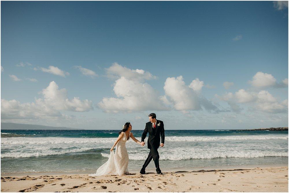 maui beach wedding at ironwoods beach by maui wedding photographer naomi levit
