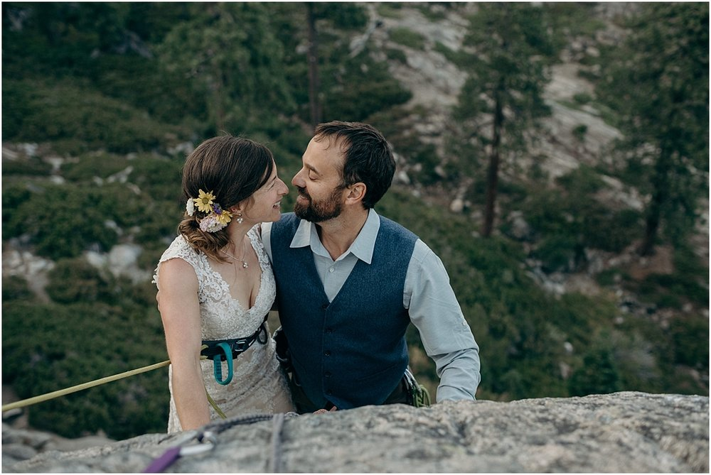 adventurous rock climbing wedding photos in truckee, California