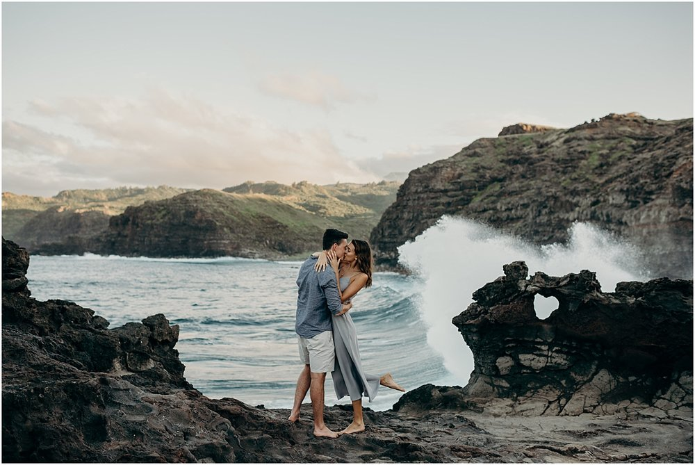 adventurous maui engagement session at nakalele point