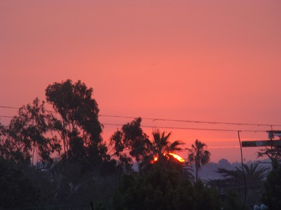 Sunrise makes a brief appearance into a blazing red sky over LA from Mar Vista.   It is impossible for a man to learn what he thinks he already knows.  …Epictetus