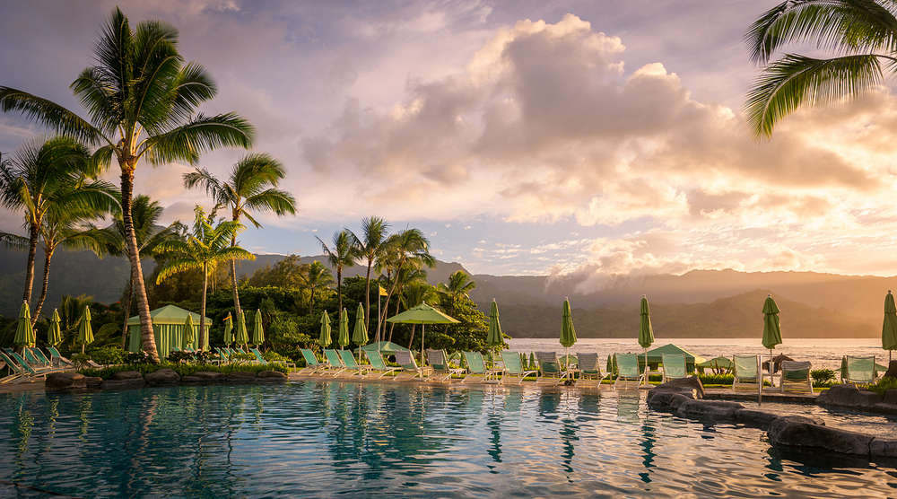 St. Regis Princeville pool overlooking Hanalei Bay, Kauai Hawaii