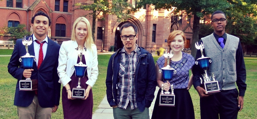 Mr. Thorpe (center) with debaters Marco Zepeda, Caitlin Walsh, Tara Viviani, and Shawn Cunningham after Bishop O'Dowd's 2013 closeout of the Yale Invitational. Since 2009, O'Dowd parliamentary debaters have established an extraordinary record of success and achievement at both lay and expert tournaments.
