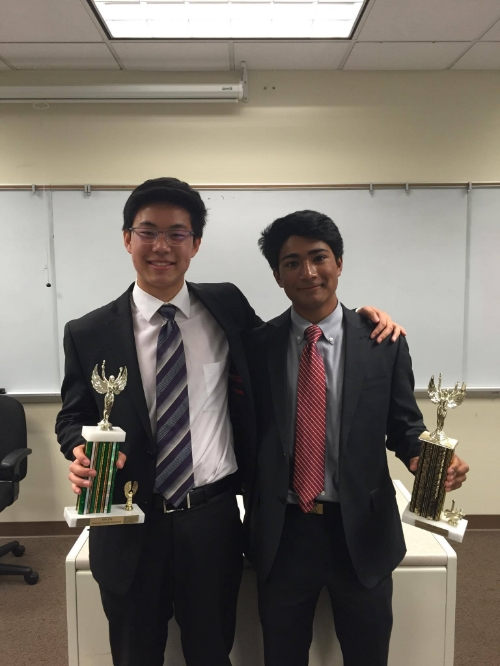 Campolindo's Kevin Deng & Krish Visht after finals.  Photo courtesy of Shannon Bonet