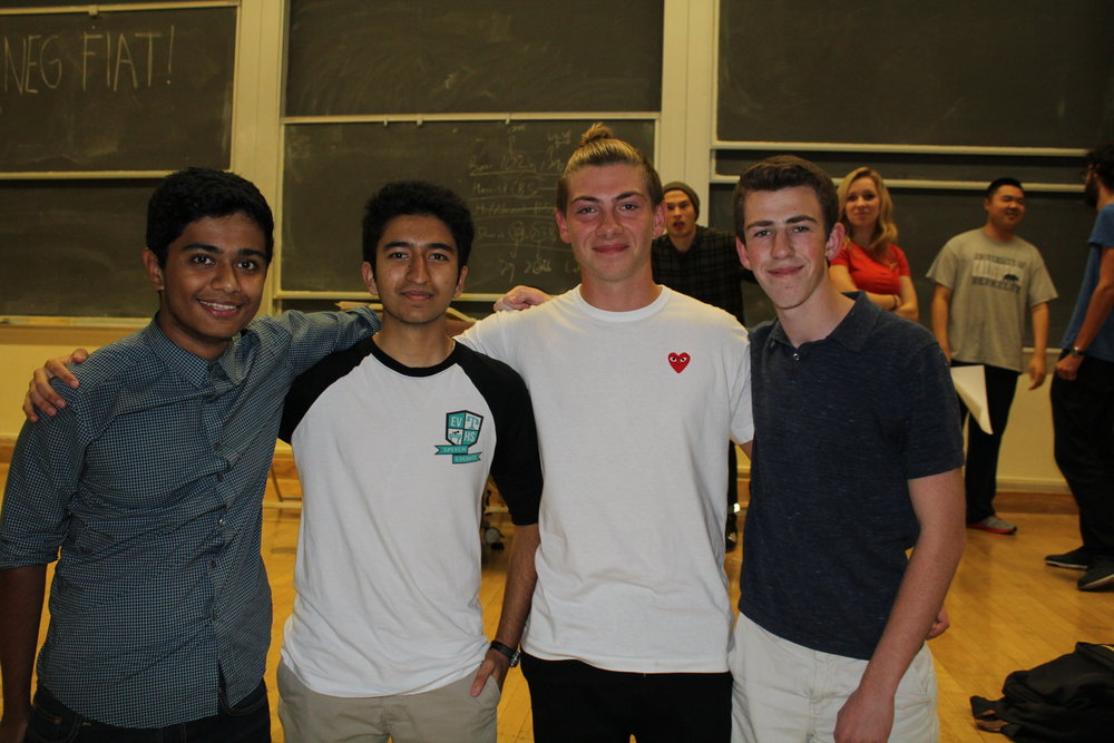 Left to right: Aris Saxena, Poojan Shukla, Marek Zielinski, and Caleb Kornfein