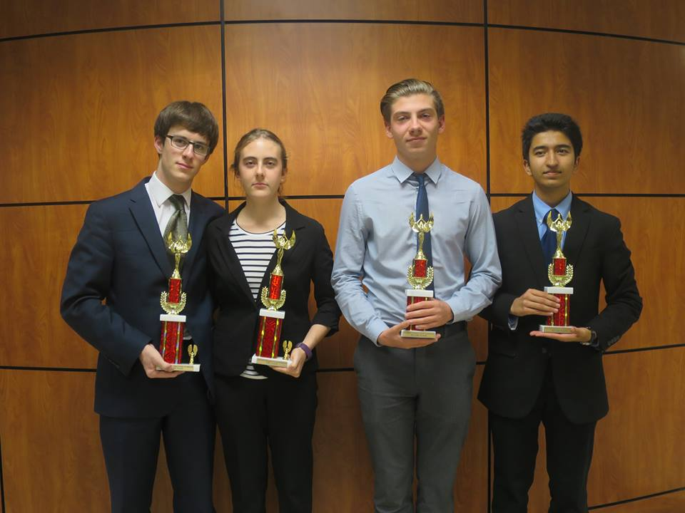 (from left to right) Spencer Dembner, Lilly Hackworth, Marek Zielinski, and Poojan Shukla