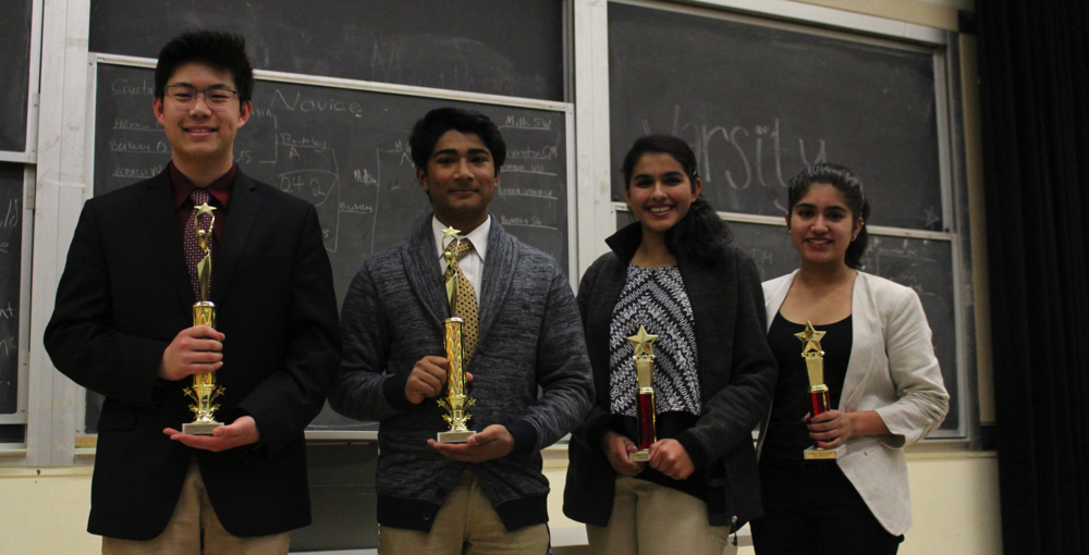 Campolindo champions pose with pull-up Irvington finalists: (left to right) Kevin Deng, Krish Visht, Medha Acharya, Jessica Singh
