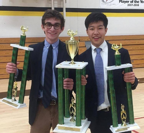 Cumming and Kim pose with their trophies after finals. (left to right)