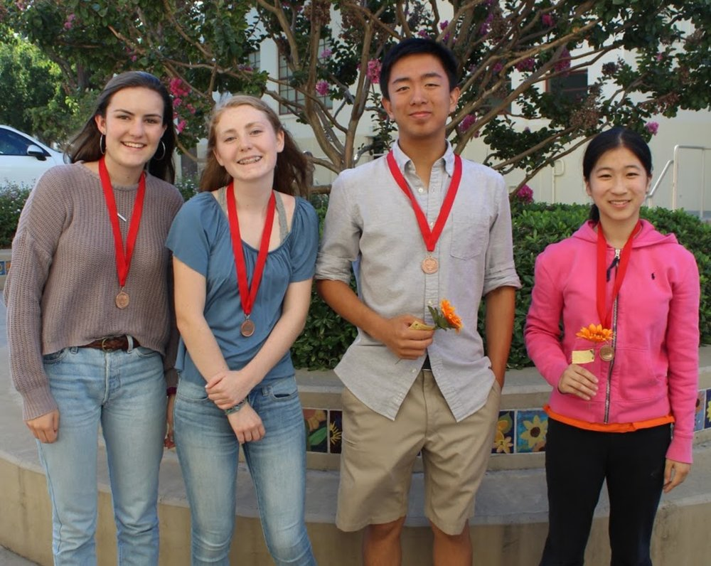Left to right: Claudia Hester & Alden O'Rafferty and Ryan Lee & Shirley Cheng pose after finals.
