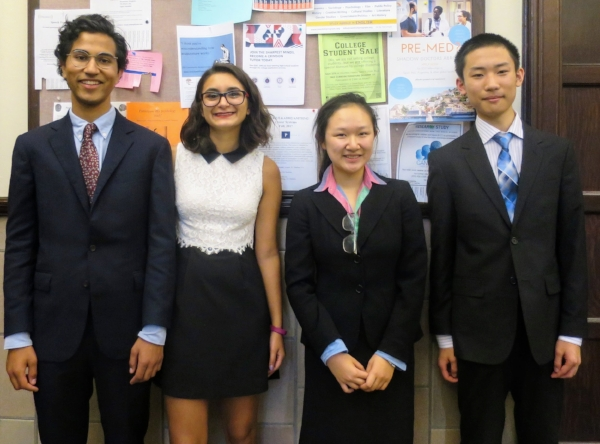 Left to right: Bilal Memon, Chloe Kekedjian, Jennifer Huang, and Jerry Yang pose before finals.