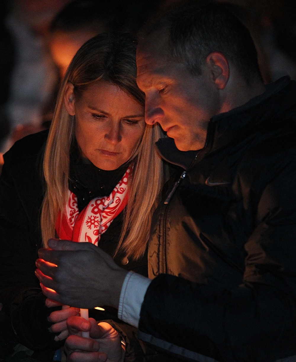 Sherry and Chance Potts attend a vigil for their teenage son, Landon who was killed in a car accident a few days before.