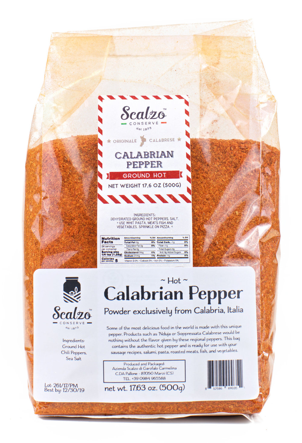 - While it may be a different name it is the same great product we have always sold. Scalzo Conserve brand is the highest quality hot Calabrian pepper powder we carry, and much more complex than our Imepa pepper powder.