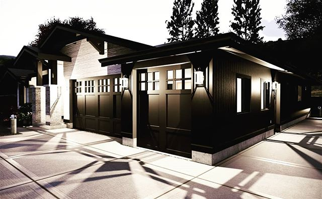 Front facing garages don't have to be ugly. Scale, color, texture and lighting can make a garage a thing of beauty.  #garage #dreamhome #customhome #outdoorlighting #nightphotography #architecture #residentialdesign #residentialarchitecture #beautifulhomes #garagedoor #architecturephotography