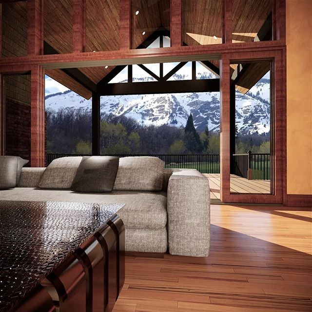 Home renovation option to open up the great room wall and move an existing fireplace. This is for a home I designed years ago. Scroll to see before and after comparisons.  #renovation #residentialarchitecture #mountainhome #rendering #skihome #vacationhome #architecture #dreamhome #amazingview #remodel #timberhome #sierraplans