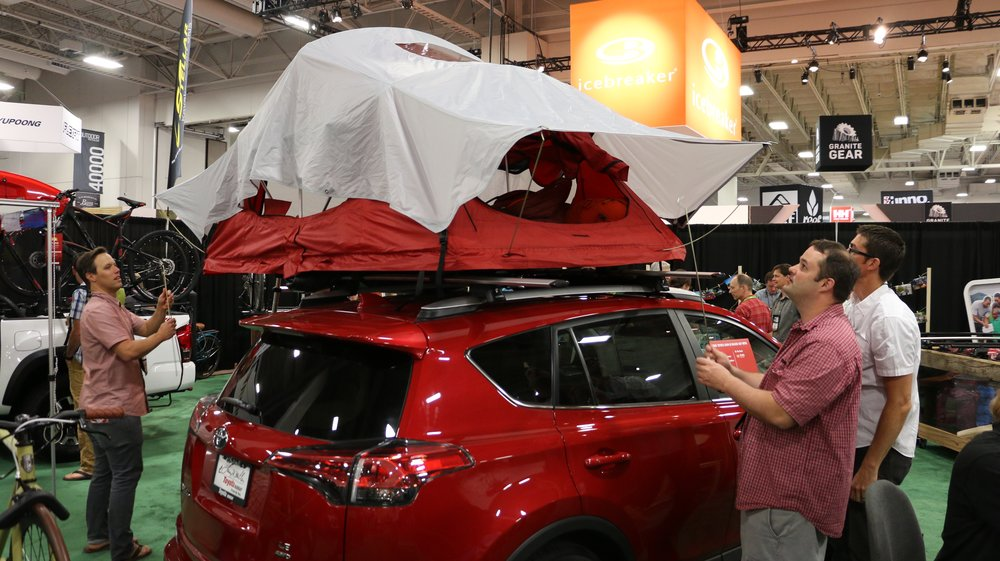 A Rav4 Hybrid like the one we drove to the show was on display with a cool roof-mounted tent thanks to Yakima.