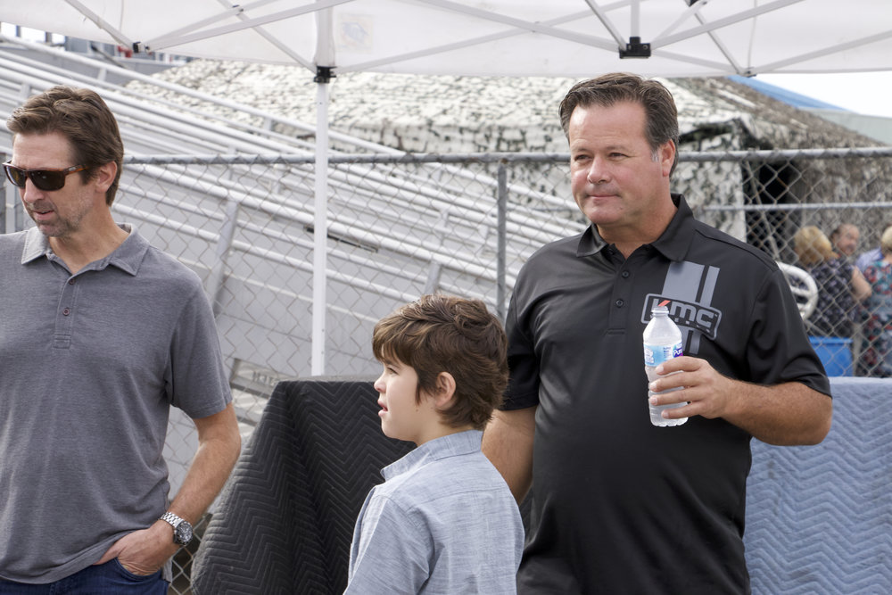 Robby Gordon (right) with his son by his side as he prepared to accept his place in motorsports history.