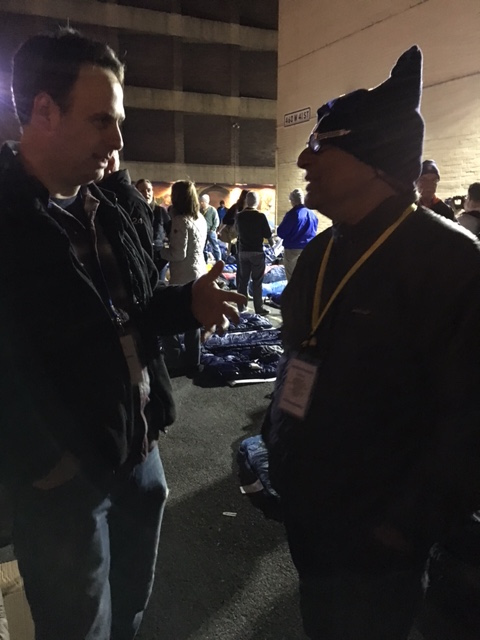 My friend Jason speaking with Deepak Chopra.  Yes, THE Deepak Chopra.  He joined the Sleep Out, and we had a chance to pray with him.