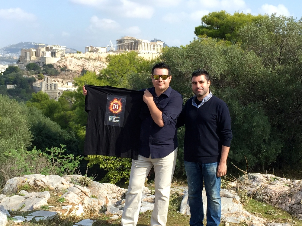 Minas met with Sean Fracek, the president of Mythicist Milwaukee, in Greece and took him on a guided tour of Athens.