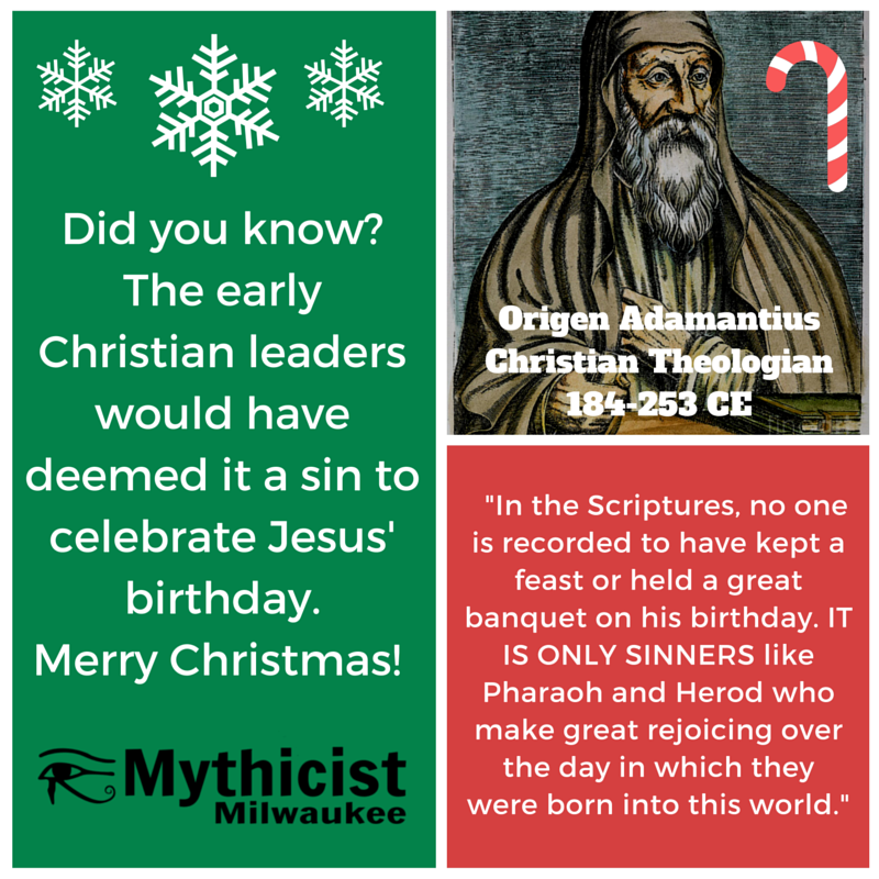 Origin Christians didn't celebrate Christmas