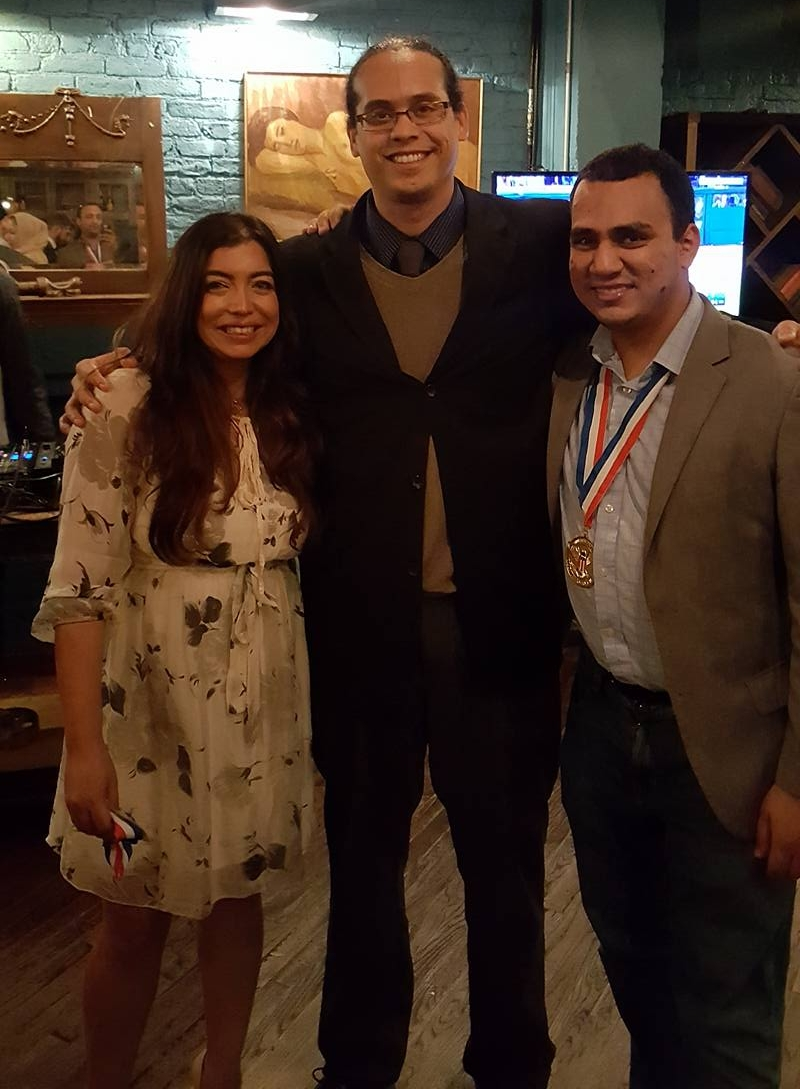 From left to right: MALA co-founder and President's Volunteer Service award-winner Zaniab Khan, MM co-founder Antonio Blandon, and human rights activist and founder of Ideas Beyond Boarders Faisal Saeed Al-Mutar.