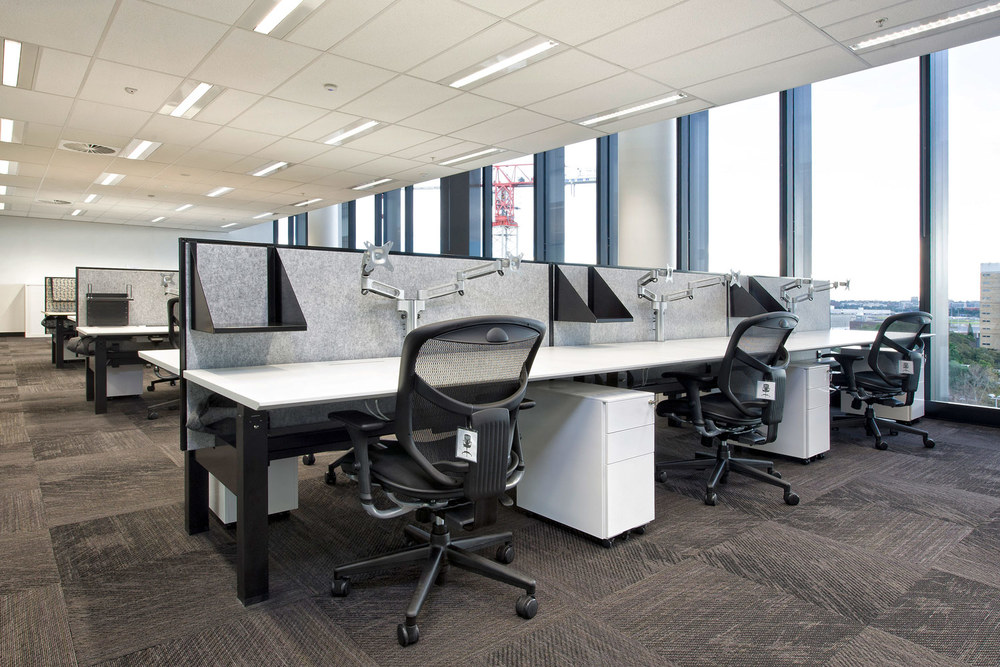 Actif workstations, Gamma chairs, screen hung shelves, Easy mobile pedestals and KI dual monitor arms