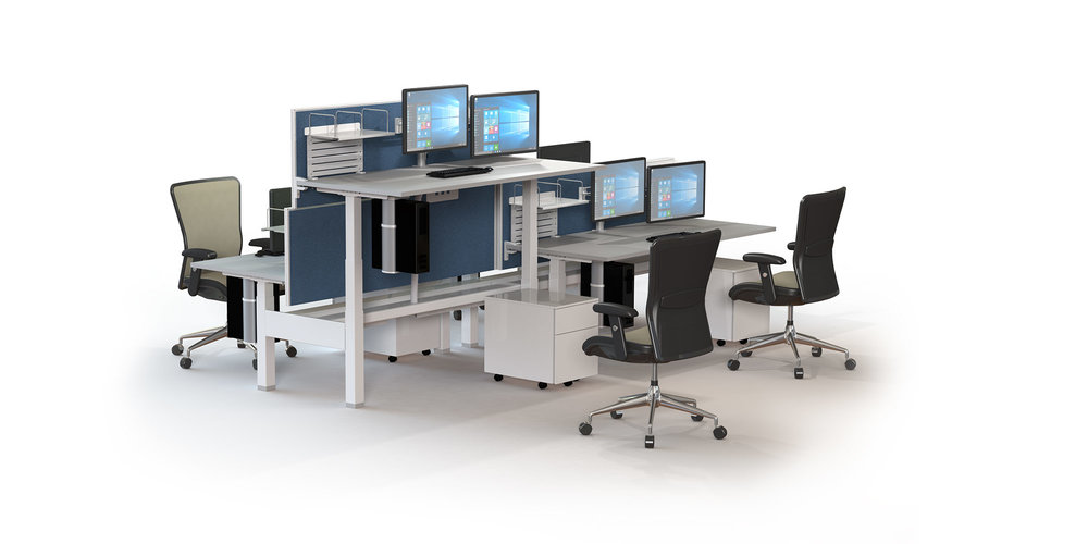 Actif - ACTIF sit-to-stand workstations are available in two height configurations with a variety of height adjustable mechanisms. These include a German made electric dual motor solution and hand cranked or technician height-adjustable pin versions. ACTIF has been widely specified due to the health benefits sit-to-stand offers employees and is supported by RJ's ten-year warranty.