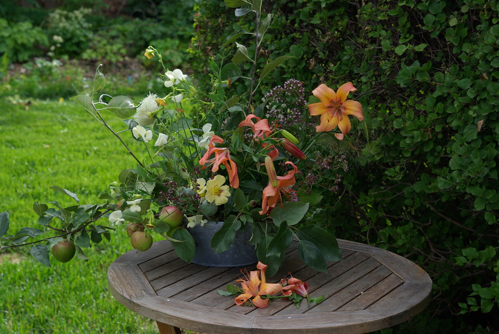 Late July - lilies, nasturtiums, early apples, poppies, oregano, sweet peas, nicotiana