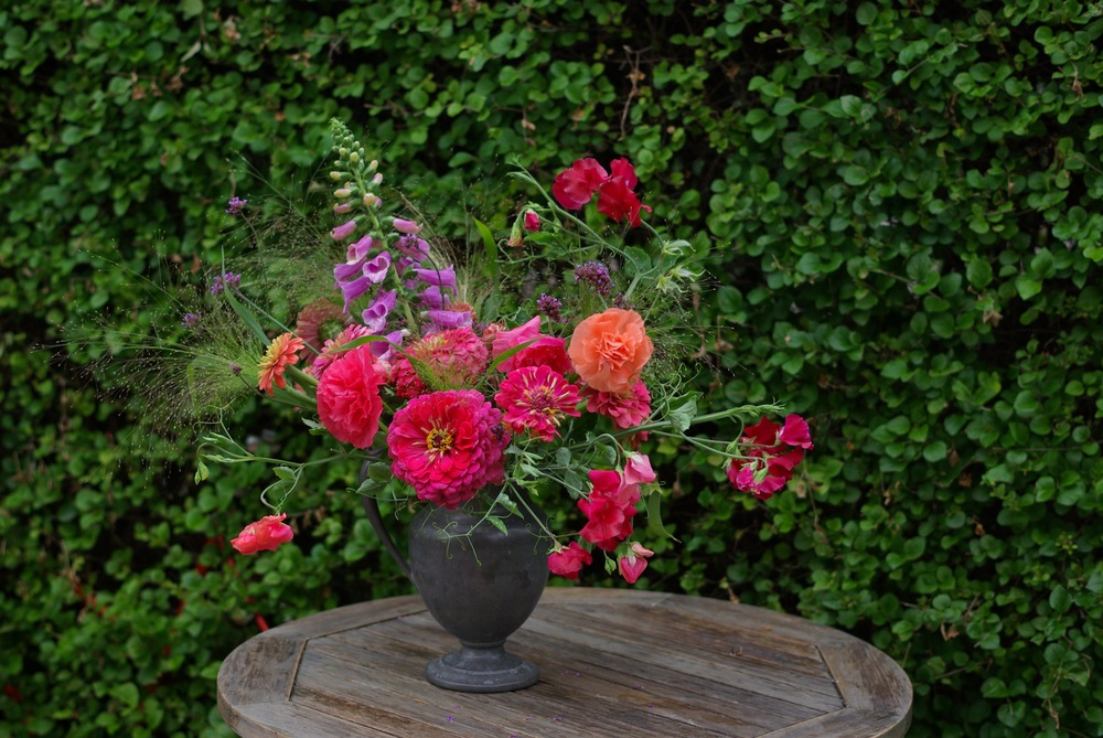 Mid-July - zinnias, poppies, sweet peas, foxglove, frosted explosion grass, verbena