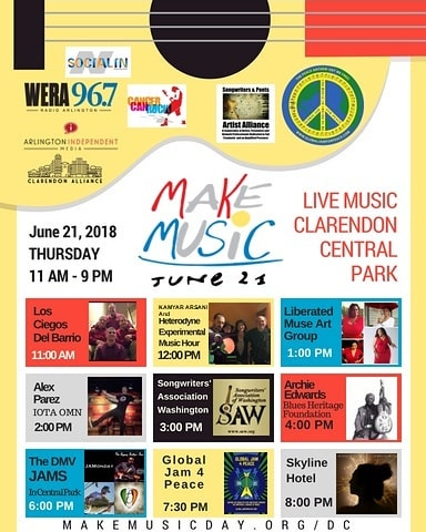 We take on Clarendon Central Park tomorrow, Thursday, June 21st for @makemusicdaydc and @globaljam4peace. This is an event you CANNOT miss. Look at that colossal lineup of the best and most influential musicians and tastemakers in DC. So honored to share the stage with them. We go on at 7:30pm for the Global Jam 4 Peace, then our set at 8pm.