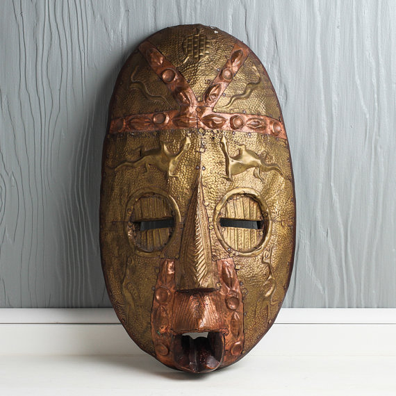 Wood, Brass & Copper African Tribal Mask, curated by Crow Ridge Studios